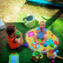 Little Dudes Camping on AstroTurf