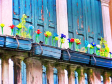 Blown Glass flowers on island of Murano Venice Italy 1