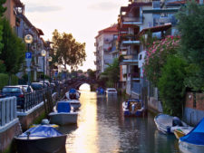 Canals at sunset on the Lido Venice Italy 1
