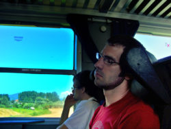 Chris Taylor sleeping on a train in Italy 1