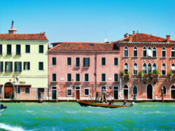 Colorful building off Grand Canal Venice Italy 1