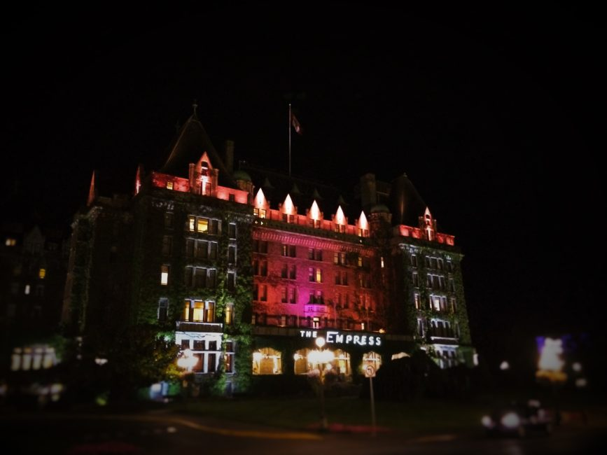 Empress Hotel Victoria BC facade at night 1