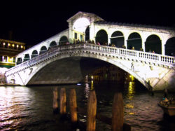 Rialto Bridge at night Venice Italy 1