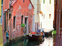 Side canal off Grand Canal Venice Italy 3
