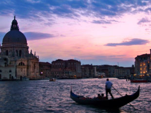 Sta Maria della Salute from Grand Canal with gondola Vanice Italy 1