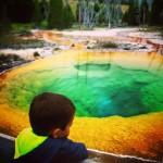 LittleMan at Morning Glory Pool Old Faithful Yellowstone 1