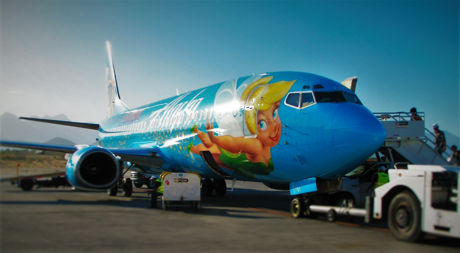 Alaska Airlines Tinkerbell plane Cabo