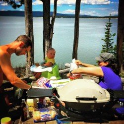 Chris Taylor BBQing on Yellowstone Lake 1