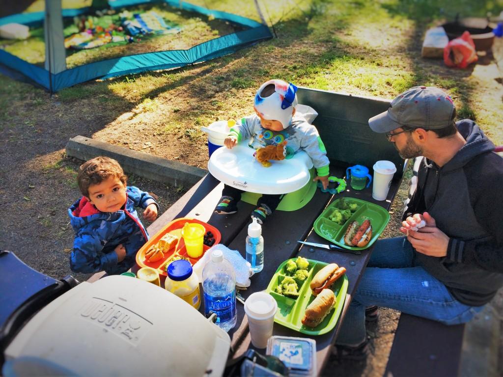 Chris Taylor and Dudes picnic table camping Salt Creek 1