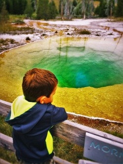 LittleMan and Morning Glory Pool Old Faithful Yellowstone 2