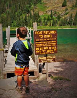 LittleMan on Glacier Park Boat Co dock Lake Josephine Glacier National Park 2