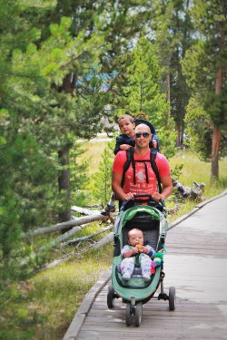 Rob Taylor with Dudes stroller hiking pack Yellowstone Old Faithful
