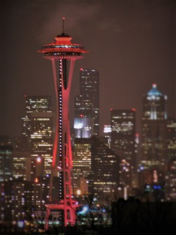 Red Space Needle