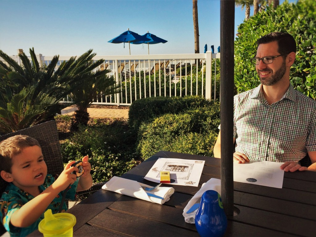 Chris Taylor and LittleMan outdoor dining at Echo Restaurant at King and Prince Resort St Simons GA 1