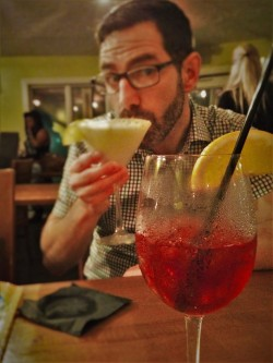 Chris Taylor with Key Lime Martini and Sangria Penthouse Casa Marina