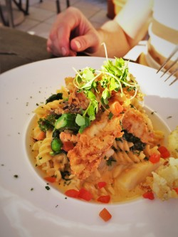 Crunchy Seafood Mac N Cheese with Fried Grouper at Echo Restaurant King and Prince Resort St Simons GA