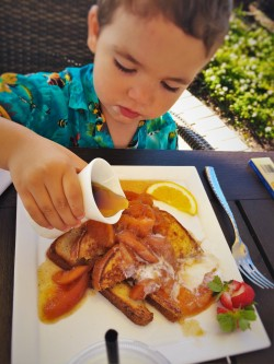 LittleMan with Peach French Toast at Echo Restaurant at King and Prince Resort St Simons GA 2