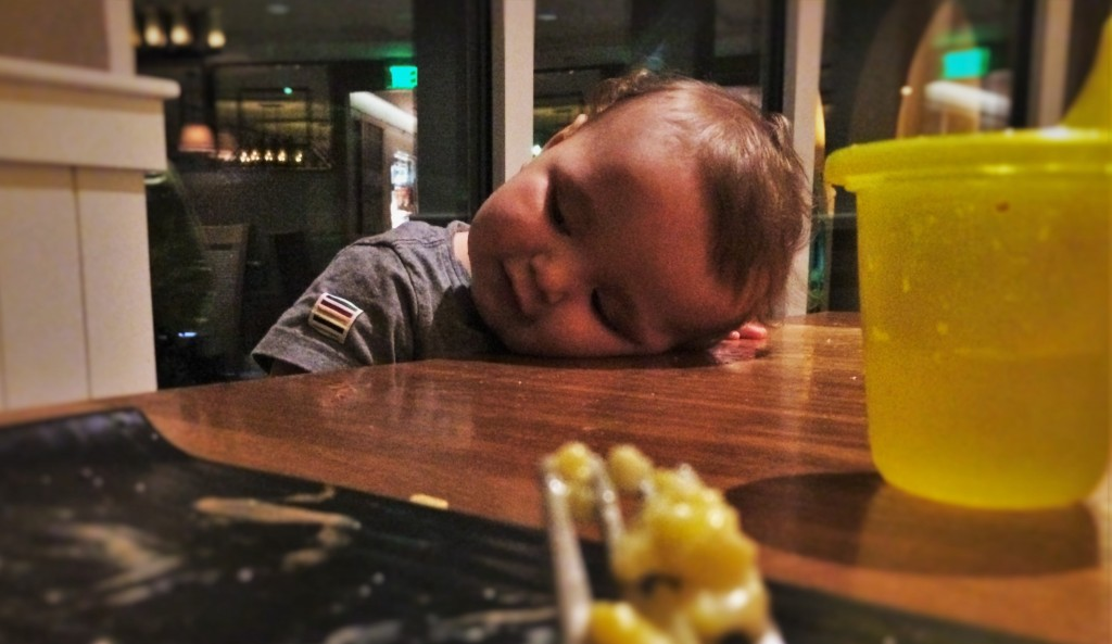 TinyMan Tired after dinner at Echo Restaurant at King and Prince Resort St Simons GA