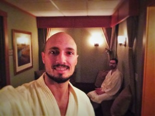 Chris and Rob Taylor waiting in Waterleaf Spa at Skamania Lodge 1
