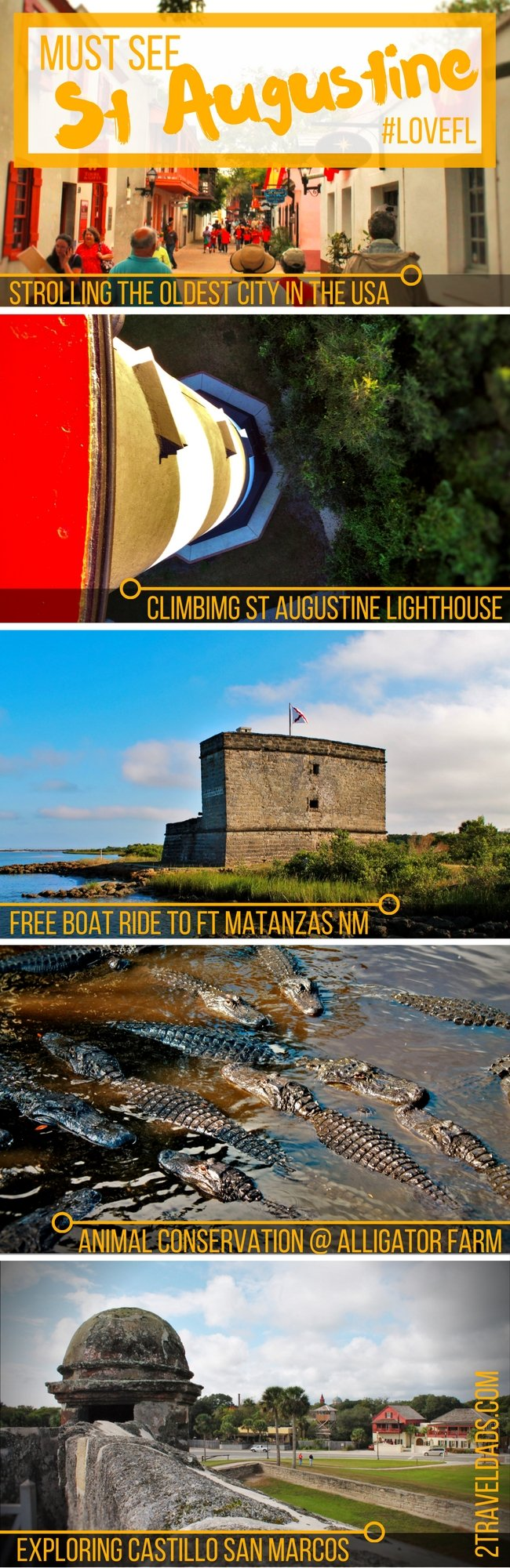 Strolling through historic St Augustine, Florida - from the Spanish fort to the Spanish Quarter, Alligator Farm to the Lighthouse - an ideal family destination
