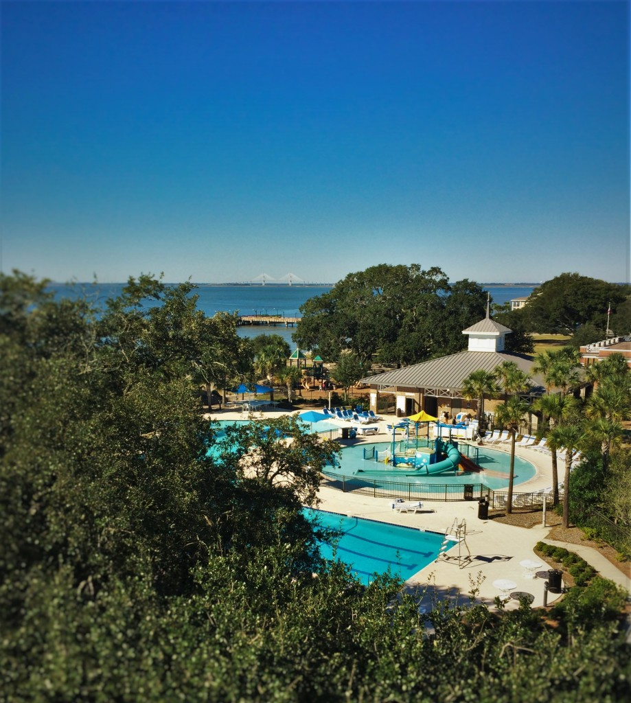 Waterpark and playground view from tower of St Simons Island Lighthouse Georgia 1