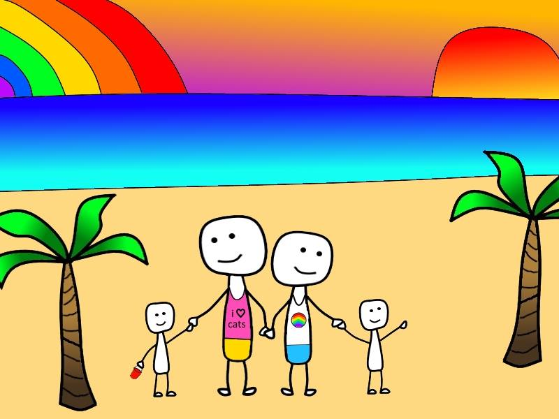 Sell All Your Stuff Stick Man Gay Family on Beach 2traveldads.com