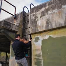 Chris Taylor and LittleMan climbing ladder at Fort Worden Port Townsend 2
