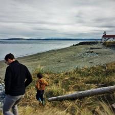 Chris Taylor and LittleMan on beach at Fort Worden Port Townsend