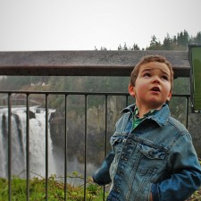 LittleMan at Snoqualmie Falls in Spring 1