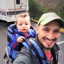 Rob Taylor and TinyMan heading to Snoqualmie Falls Washington in Winter 1