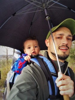 Rob Taylor and TinyMan with Umbrella at Snoqualmie Falls 1