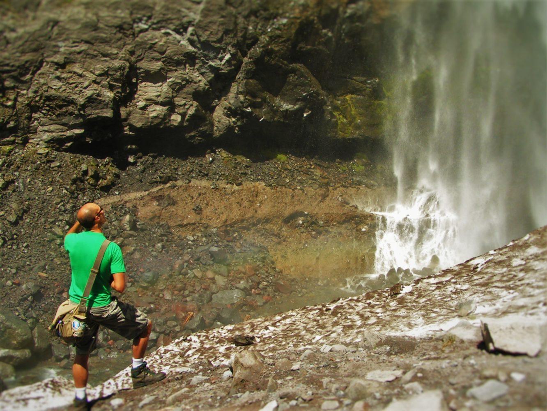 Rob Taylor at Comet Falls in Mt Rainier National Park 2traveldads.com