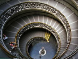 Spiral staircase in Vatican Museum from Traci Richards Photography 2traveldads.com
