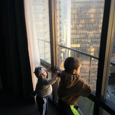 Taylor Kids and View from Luxury Suite at Westin Seattle 1