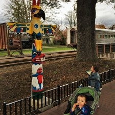 Taylor Kids with Totem Pole in Downtown Snoqualmie Washington 1