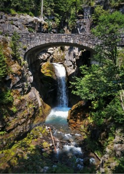 Christine Falls with Rustic Stone Bridge Mt Rainier National Park