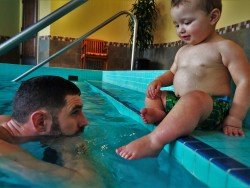 Chris Taylor and TinyMan in swimming pool at Inverness Hotel Denver Colorado 3