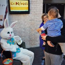 Chris Taylor and TinyMan meeting Easter Bunny at Inverness Hotel Denver Colorado 1
