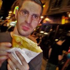 Chris Taylor with Crepe in Latin Quarter Paris 2traveldads.com