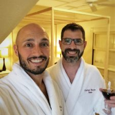 Chris and Rob Taylor in bathrobes at Carter House Inn Eureka 1