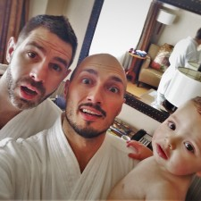 Chris and Rob Taylor with TinyMan in Bathrobes at Inverness Hotel Denver Colorado 2