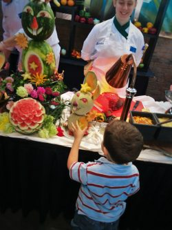 LittleMan and Bunnies made of Fruit at Easter Brunch in Garden Terrace at Inverness Hotel Denver Colorado 1