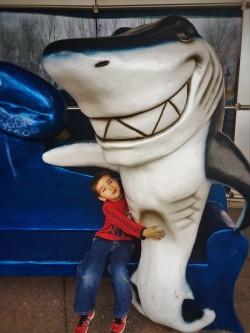 LittleMan hugging fake shark at Denver Downtown Aquarium 1