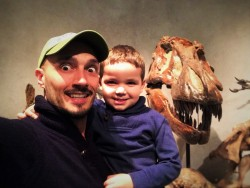 Rob Taylor and LittleMan with T-Rex Skull in Prehistoric Journey in Denver Museum of Science and Nature 1