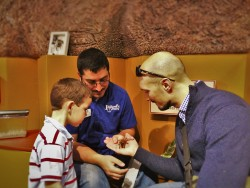 Rob Taylor holding Rosie the Chilean Red Hair Tarantula at the Butterfly Pavilion Denver Colorado 1