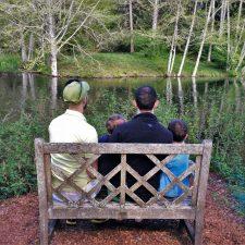 Taylor Family by still pond at Bloedel Reserve Bainbridge Island 1