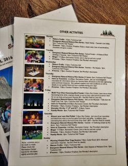 Activity schedule at Evergreen Lodge at Yosemite National Park 1