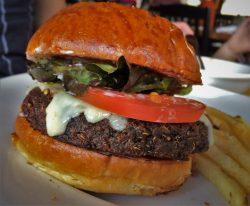 Black bean burger for lunch at Tavern at Evergreen Lodge at Yosemite National Park 1