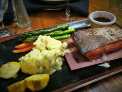 Cedar plank salmon in Sierra Restaurant at Tenaya Lodge Yosemite 2traveldads.com