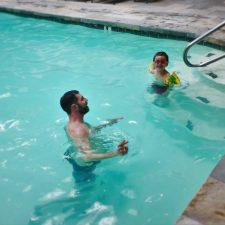 Chris Taylor and LittleMan in the pool at Tenaya Lodge Yosemite 1